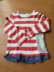 キムラタン.ラキエーベ.長袖Tシャツ.赤.白.ボーダー.デニム.美品