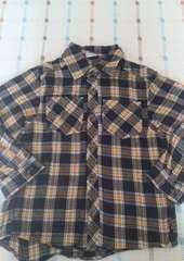 黒黄色チェックシャツ♪120�p