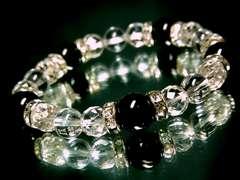 オニキス10ミリ§64面カット水晶§水晶§8ミリ§銀ロンデル