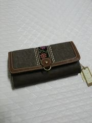 ☆2つ折長財布♪チロリアンテープ付き♪新品未使用♪濃茶