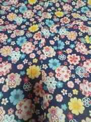 ☆新品紺×桜柄ダボシャツ100