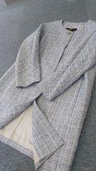INED春先素敵なノーカラーツイードコート素敵 ユッタリサイズ