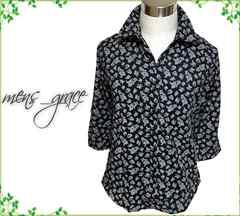 新品 7分袖シャツ 小花柄 ドビーストライプ 黒xグレー LL XL
