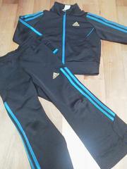 adidasアディダスCLIMA LITEジャージ上下黒ブルーライン110サイズ
