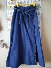 デニム巻きスカート♪ロング インディゴ 58 美品