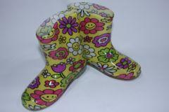 可愛い♪フラワースマイル柄子供用キッズレインブーツ/長靴18cmお花