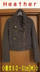 【Heather】チェック柄・ライダースジャケット袖口ファスナー付き・Size[M]