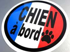 CHIEN a bord/DOG in CARフランス語ステッカー●犬がのってます