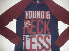 ☆USA人気急上昇!B系【YOUNG & RECKLESS】ラグラン ロングT US L
