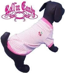 j33)Sale!XLサイズ!マリンボーダーTシャツピンク犬服Dogチェリーさくらんぼワッペン