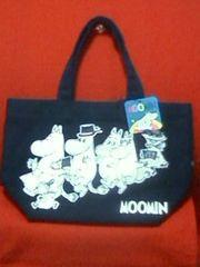 ムーミントートバッグ(S)紺ムーミンファミリー柄内ポケット付Moomin