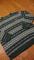 MATERIALーADWORKSカウチン デザインセーター 緑白 XXL→XL位