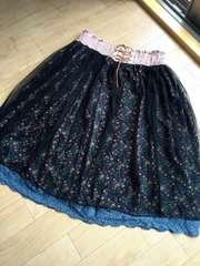 新品大きい4L5L黒花柄チュール刺繍レースと重ねて。スカート