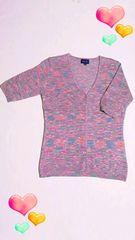 新品サマーセーター/半袖/M  ピンク水色ラメ    限定一点