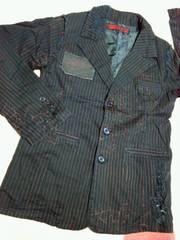 h.naoto H.ANARCHISMforPLUSダメージジャケット蜘蛛の巣ストライプ柄英字