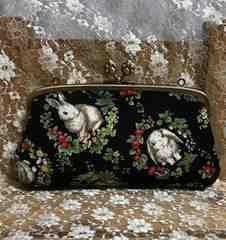 小花柄・うさぎ★肉球型・親子がま口 長財布♪