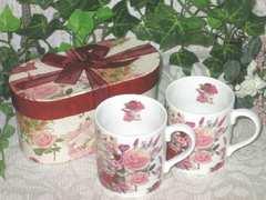 薔薇・ローズのギフトマグカップ2個セット ローズブーケ
