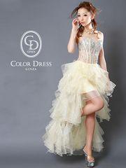 Angel R 贅沢ストーン&ビジュー段々フリル 中ミニロングドレス
