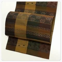 正絹 袋帯 茶系 花紋 織り柄 縦縞模様 美品 中古品