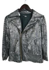 LGBルグランブルー シルバー七分袖レザーライダースジャケット