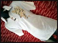 B級品・和柄龍プリントポロ(胸刺繍)新品白XXL(3L-4L)/M-606