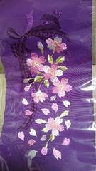 新品、振袖に最適!豪華刺繍柄の半衿、花とリボン、紫