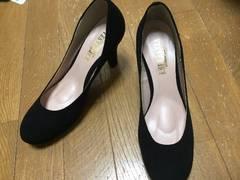 黒23☆新品&即決.ESPERANZA.綺麗め生地パンプス.低反発歩きやす