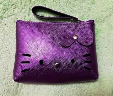 モバオクで買える「キティ★合皮ポーチ★小銭入れ★シャインバイオレット★紫★」の画像です。価格は500円になります。