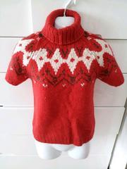 赤レッドハイネックセーターネイティブ柄半袖トップス