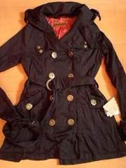 d.i.aデカロゴ釦トレンチスプリングジャケットブラック