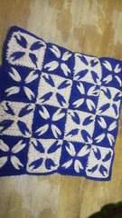 手編みの座布団〓ネイビー×ベージュ角座