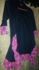 マーズ風 変形カーディガン、羽織りブラック&ピンクレースMサイズ