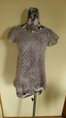 グレー Mサイズ 透かし編み半袖ニット レストローズ系 パフスリーブ