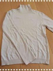 ライトベージュ/薄手タートルネックセーター/Lサイズ