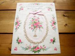 アメリカヴィンテージ グリーティングカード/ピンク薔薇の花ローズ リボンGR#18
