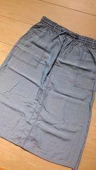 薄手デニム風ミディ丈スカート LL/大きいサイズ ウエスト総ゴム