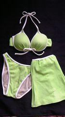 白パイピングホルターリボン盛りパッドワイヤービキニ水着スカート3点セット黄緑