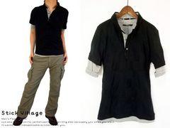 レイヤードブロックチェックポロシャツMブラック黒black▼新品△