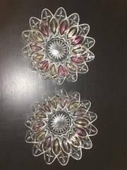 4337 レトロ お花型 カラフルボウル皿 2枚