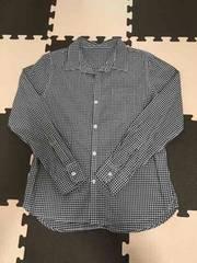チェックシャツ 紺色