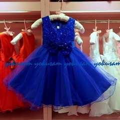 新作★130★ロイヤルブルーの豪華スパンコールとリボンのドレス
