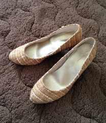 ベージュ ツイード エレガント パンプス 靴 日本製 22.5cm