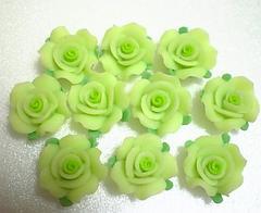 激安即決樹脂薔薇・黄緑10個12ミリ