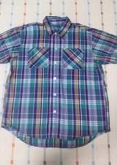 美品♪紫チェックシャツ半袖♪130�p