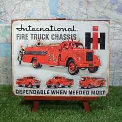 ★新品★【ブリキ看板】Fire Truck Chassis/消防車 IH