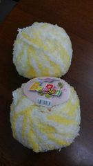 ベビーボンボンヤーン 《レモン色×ホワイト》2玉 未使用品