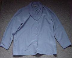 シャツ ブラウス 長袖 ツルツル 襟 パープル ビジネス L