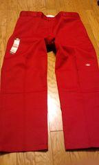 Dickiesディッキーズ ワークパンツ レッド赤 サイズW48×32 ダブルニー124cm