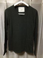 ビームス ユーズド加工 無地 長袖Tシャツ ロンT カットソー Sサイズ 黒グレー 日本製