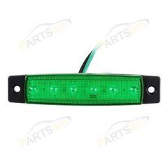 12V/24V兼用 LEDサイドマーカー 12V 角形 片側6連 緑10個セット